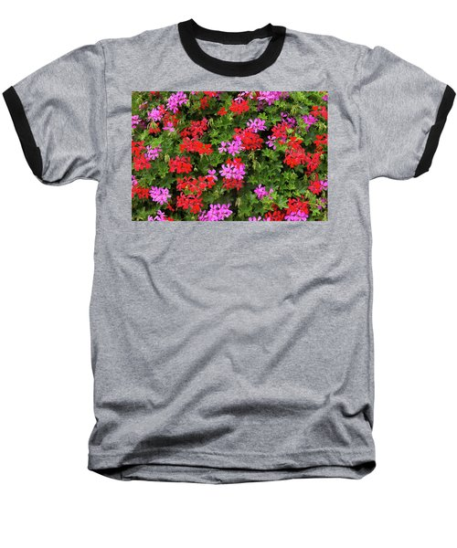 Blooming Flowers Background Baseball T-Shirt by Hans Engbers