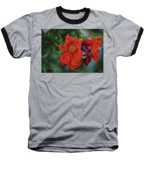 Blooming Poms Baseball T-Shirt by Marna Edwards Flavell