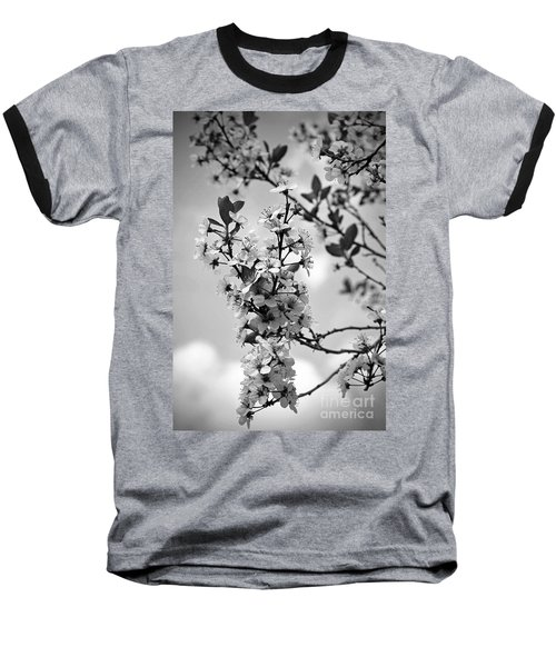 Blossoms In Black And White Baseball T-Shirt