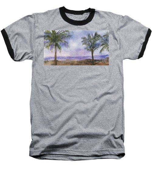 Baseball T-Shirt featuring the painting Blowing By The Ocean by Vicki  Housel
