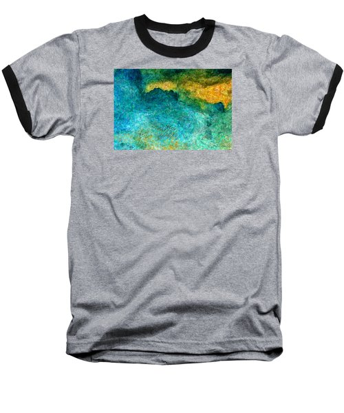 Blue Abstract #5 Baseball T-Shirt