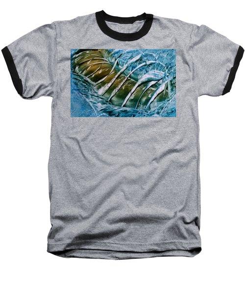 Blue Abstract Dark Ribbon Centre Baseball T-Shirt