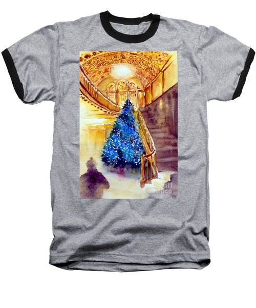 Blue And Gold 2 - Michigan Theater In Ann Arbor Baseball T-Shirt by Yoshiko Mishina