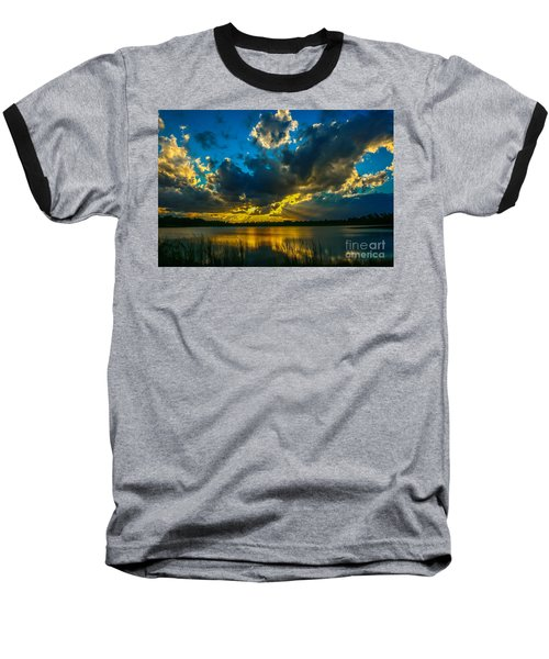 Blue And Gold Sunset With Rays Baseball T-Shirt by Tom Claud
