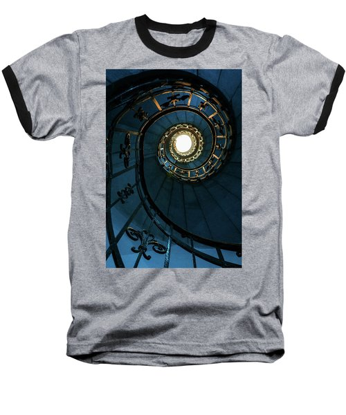 Baseball T-Shirt featuring the photograph Blue And Golden Spiral Staircase by Jaroslaw Blaminsky