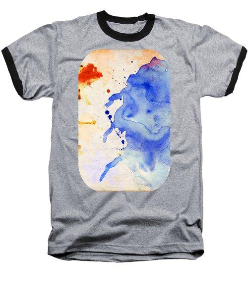 Blue And Orange Color Splash Baseball T-Shirt