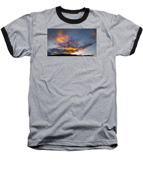 Blue And Orange Sunset Over Blue Ridge Mountains Baseball T-Shirt by Kelly Hazel