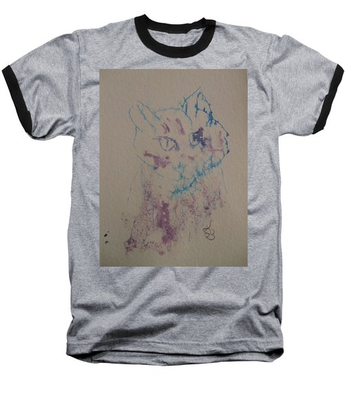 Blue And Purple Cat Baseball T-Shirt