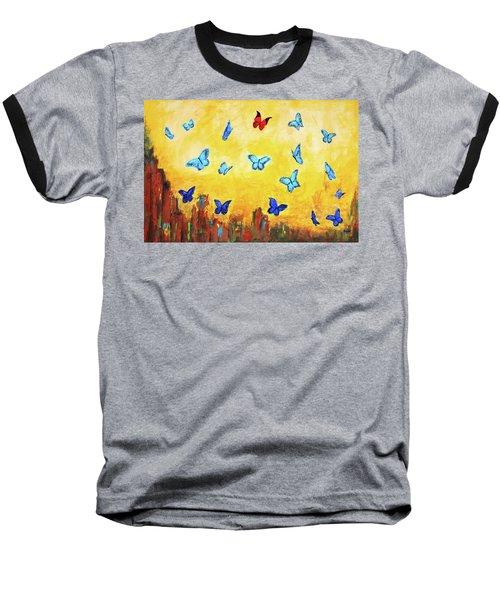 Blue And Red Butterflies Baseball T-Shirt