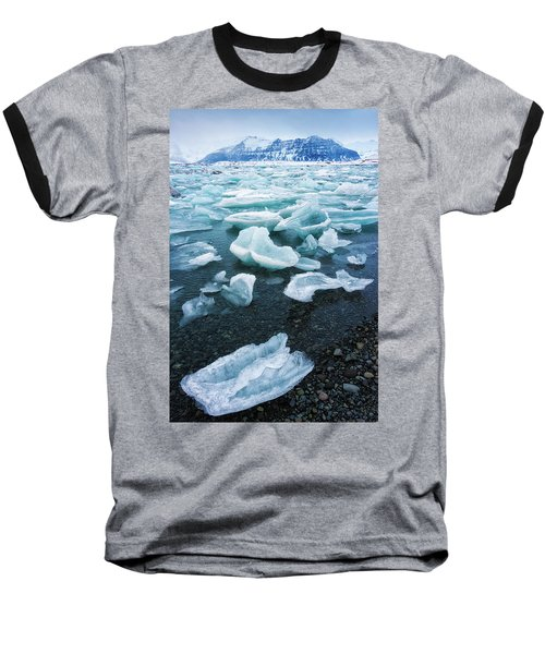 Baseball T-Shirt featuring the photograph Blue And Turquoise Ice Jokulsarlon Glacier Lagoon Iceland by Matthias Hauser