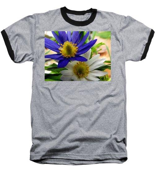 Blue And White Anemones Baseball T-Shirt