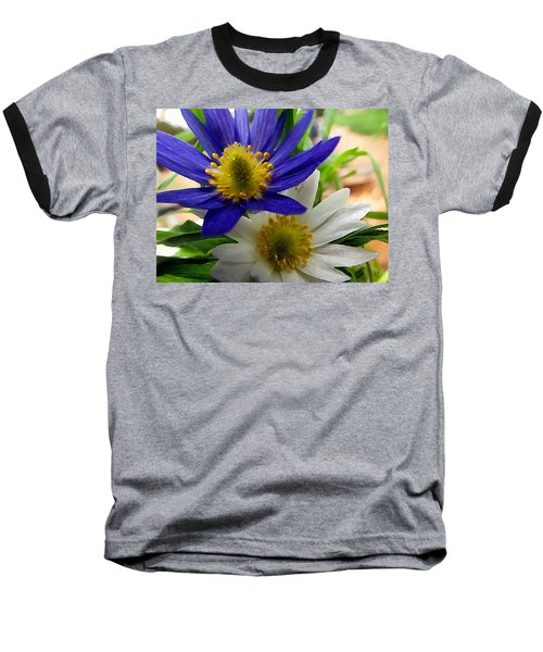 Blue And White Anemones Baseball T-Shirt