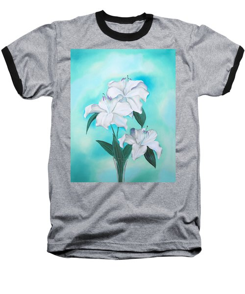 Baseball T-Shirt featuring the mixed media Blue And White by Elizabeth Lock