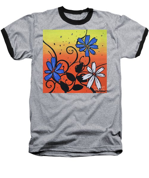 Blue And White Flowers Baseball T-Shirt