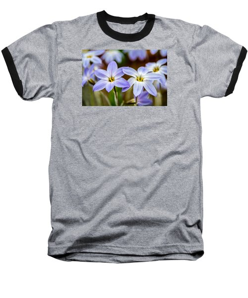 Blue And White Flowers  Baseball T-Shirt by Martina Fagan