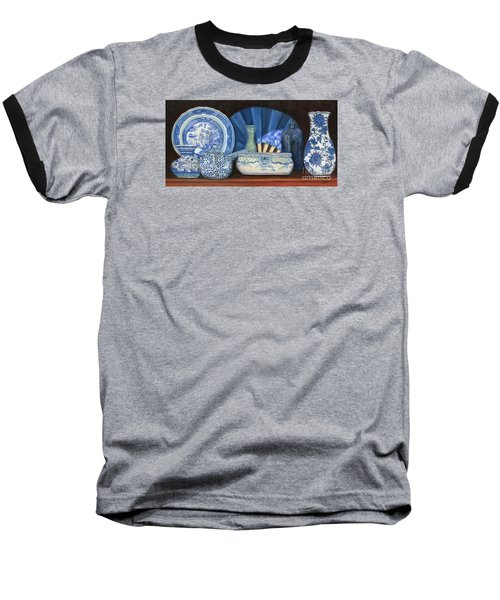 Blue And White Porcelain Ware Baseball T-Shirt by Marlene Book