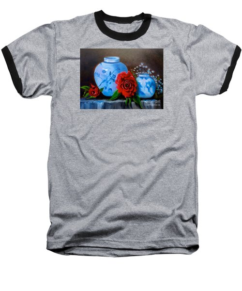 Baseball T-Shirt featuring the painting Blue And White Pottery And Red Roses by Jenny Lee