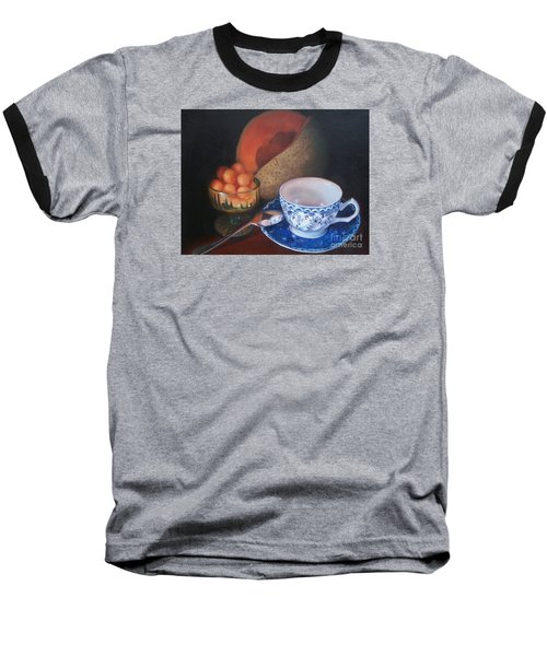 Blue And White Teacup And Melon Baseball T-Shirt by Marlene Book