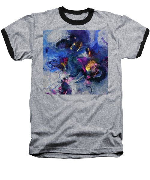Blue And Yellow Minimalist / Abstract Painting Baseball T-Shirt by Ayse Deniz