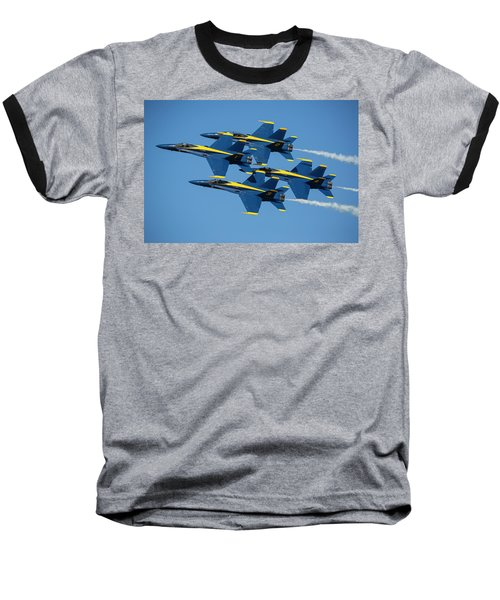 Baseball T-Shirt featuring the photograph Blue Angels Diamond Formation by Adam Romanowicz