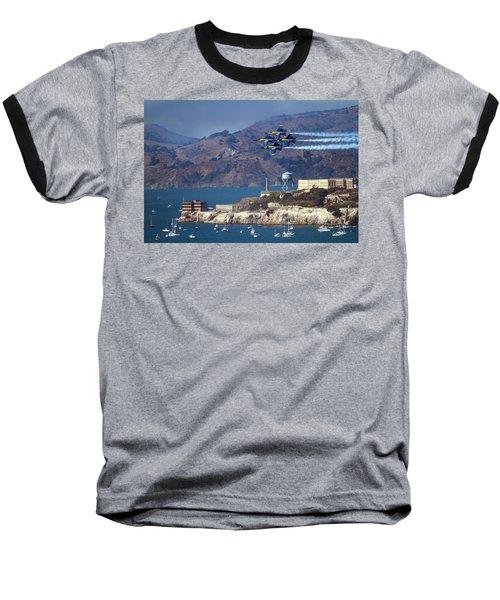 Blue Angels Over Alcatraz Baseball T-Shirt