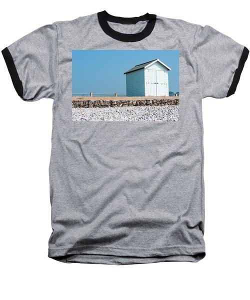 Blue Beach Hut Baseball T-Shirt