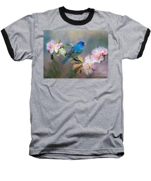 Blue Beauty In The Flowers Baseball T-Shirt