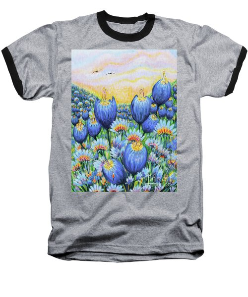 Baseball T-Shirt featuring the painting Blue Belles by Holly Carmichael