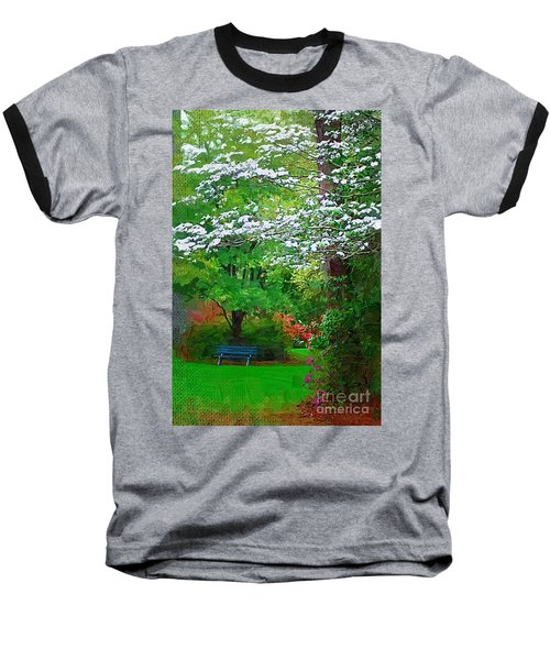 Baseball T-Shirt featuring the photograph Blue Bench In Park by Donna Bentley
