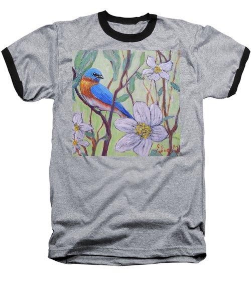 Blue Bird And Blossoms Baseball T-Shirt