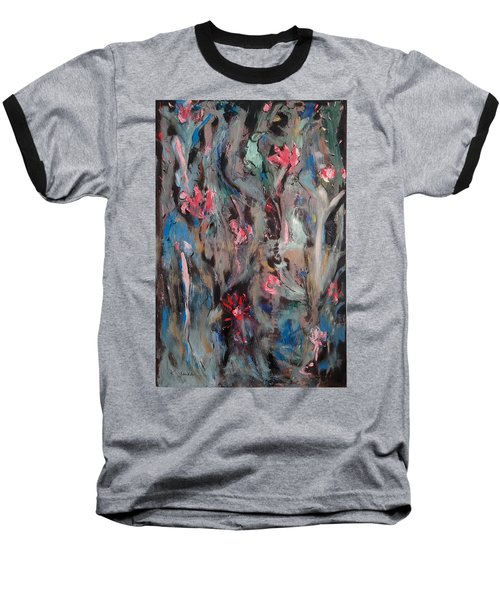 Blue Bird In Flower Garden Baseball T-Shirt