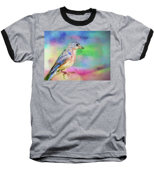 Blue Bird On Color Baseball T-Shirt