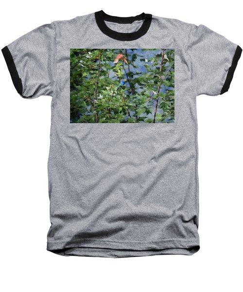 Baseball T-Shirt featuring the photograph Blue Bird On Silk by Gary Smith