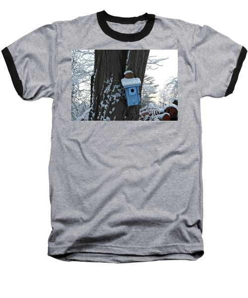 Blue Birdhouse Baseball T-Shirt