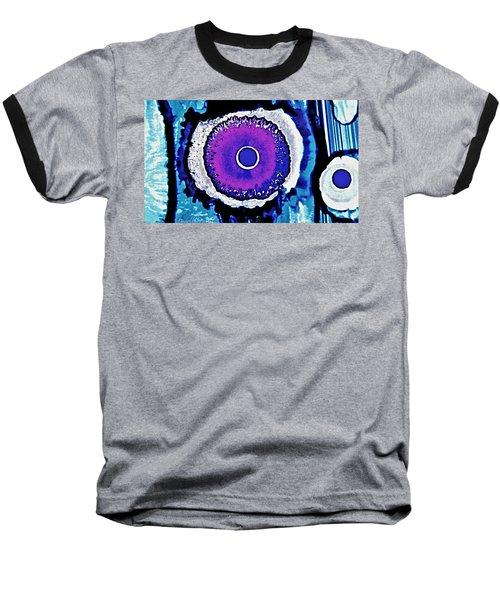 Baseball T-Shirt featuring the painting Blue Black Purple Nucleus Abstract #2 Alcohol Inks  by Danielle  Parent