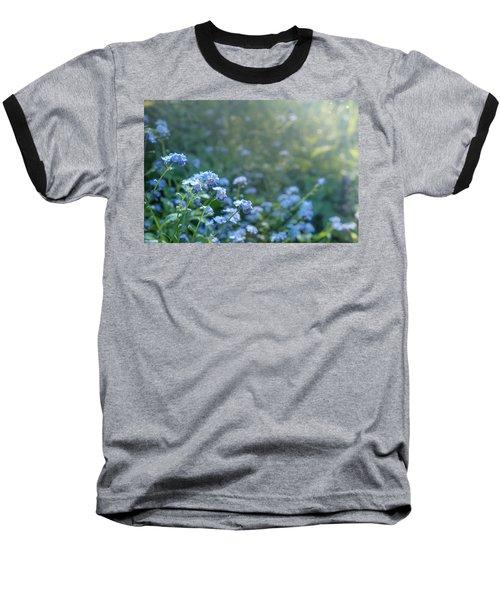 Blue Blooms Baseball T-Shirt