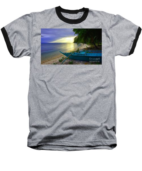 Blue Boat And Sunset On Beach Baseball T-Shirt