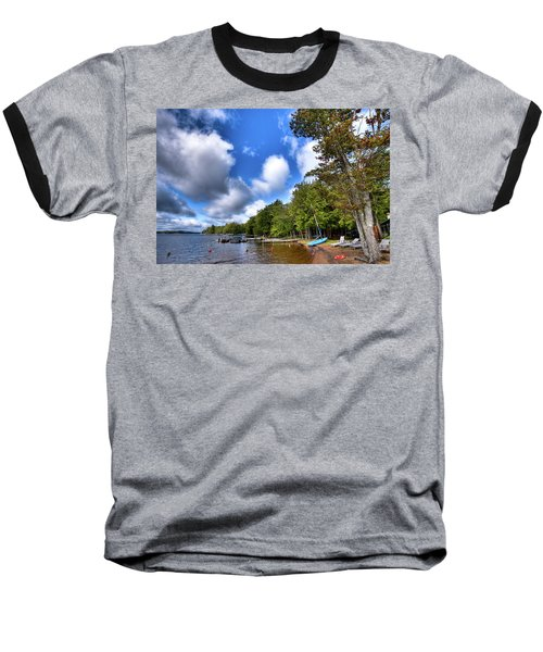 Baseball T-Shirt featuring the photograph Blue Boat On The Shore by David Patterson