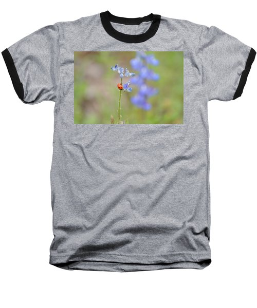 Blue Bonnets And A Lady Bug Baseball T-Shirt by Carolina Liechtenstein