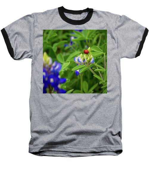 Texas Blue Bonnet And Ladybug Baseball T-Shirt