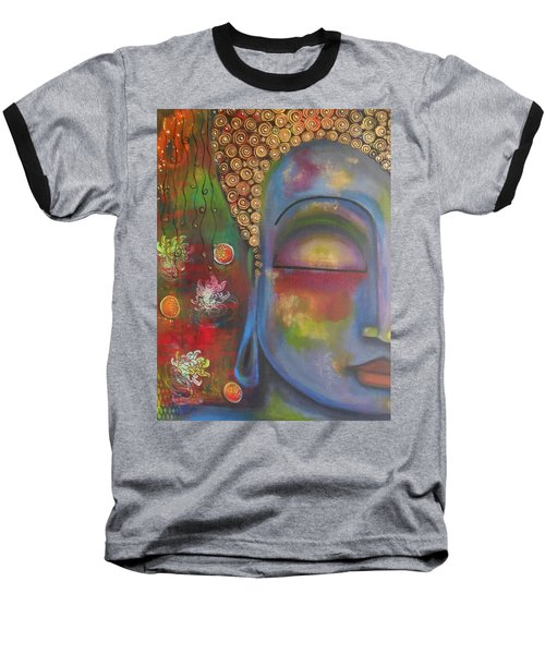 Buddha In Blue Meditating  Baseball T-Shirt