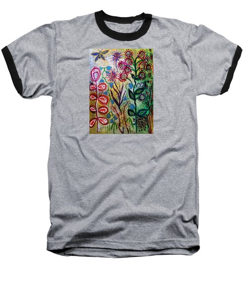 Blue Bug In The Magic Garden Baseball T-Shirt by Mimulux patricia no No