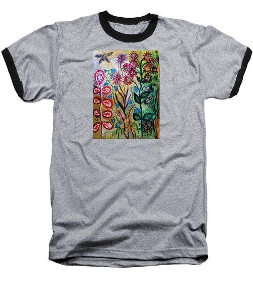 Blue Bug In The Magic Garden Baseball T-Shirt