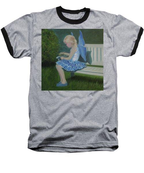 Blue Butterfly Girl Baseball T-Shirt