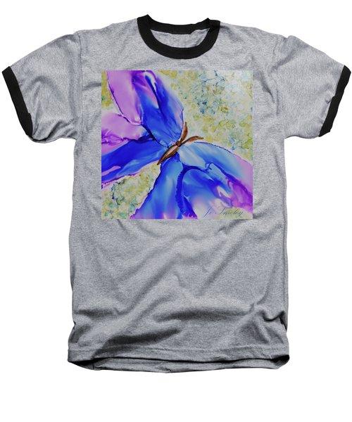 Blue Butterfly Baseball T-Shirt by Joanne Smoley