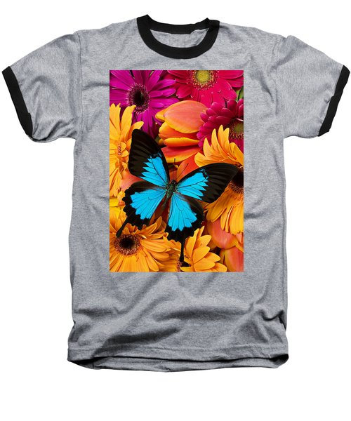 Blue Butterfly On Brightly Colored Flowers Baseball T-Shirt
