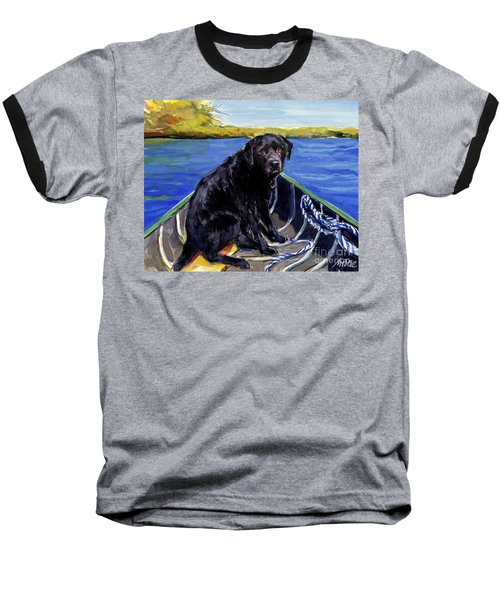 Baseball T-Shirt featuring the painting Blue Canoe by Molly Poole