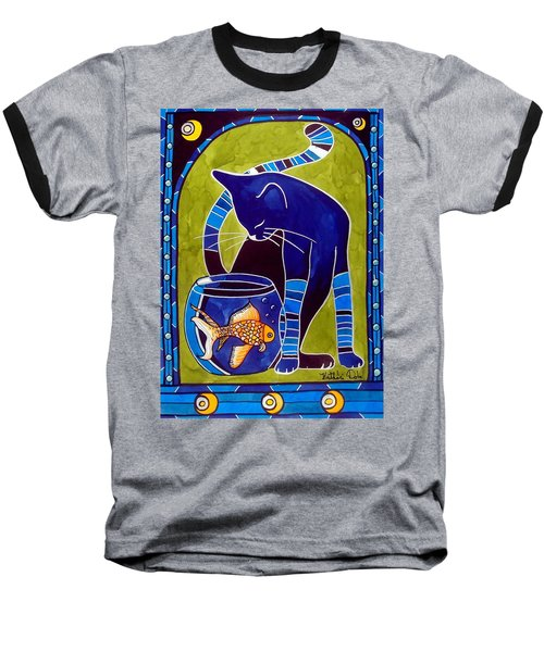 Blue Cat With Goldfish Baseball T-Shirt by Dora Hathazi Mendes