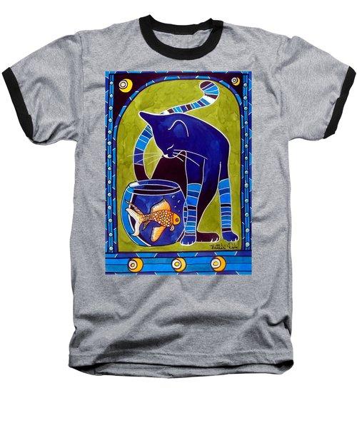 Blue Cat With Goldfish Baseball T-Shirt