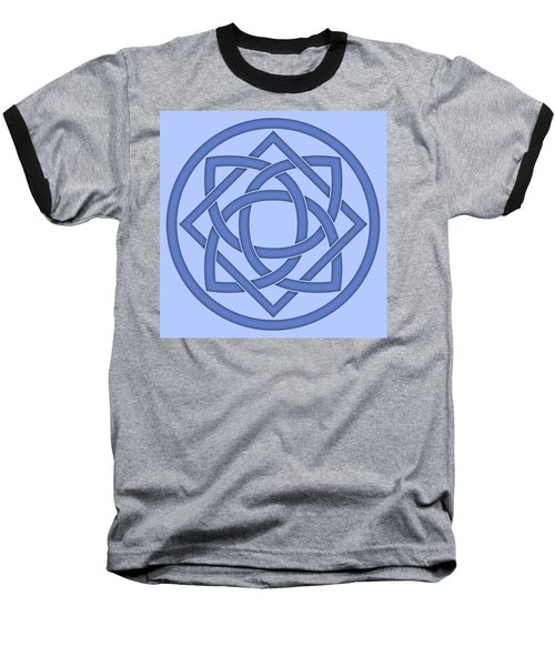 Baseball T-Shirt featuring the digital art Blue Celtic Knot by Jane McIlroy
